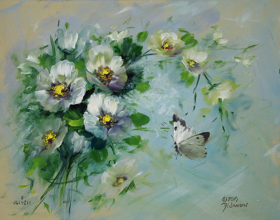Ships Painting - Whte Butterfly And Blossoms by David Jansen