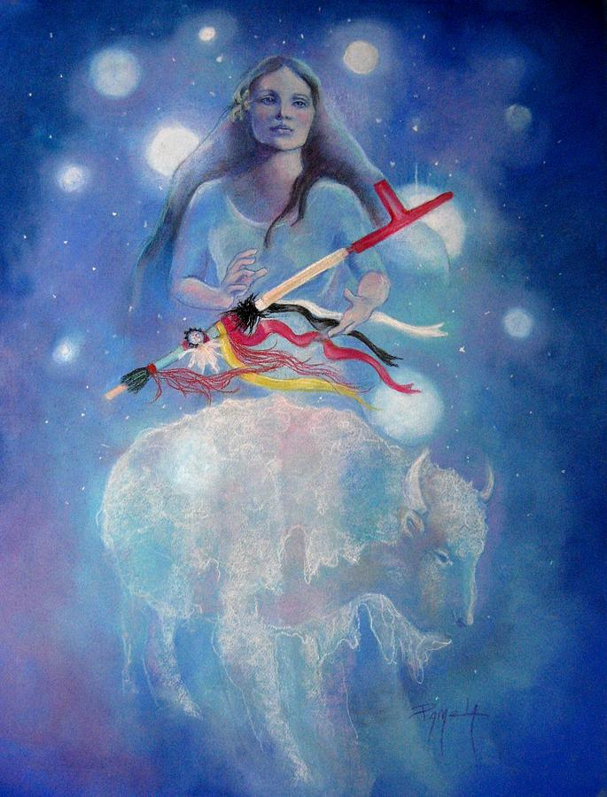 Whtie Buffalo Woman From The Pleiades Pastel by Pamela Mccabe