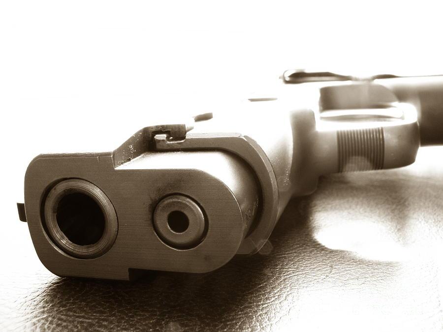 Gun Photograph - Why by Amanda Barcon