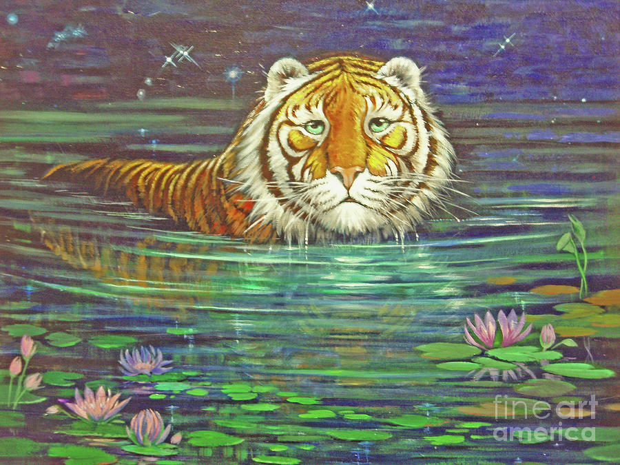 Tiger Painting - why by Silvia  Duran