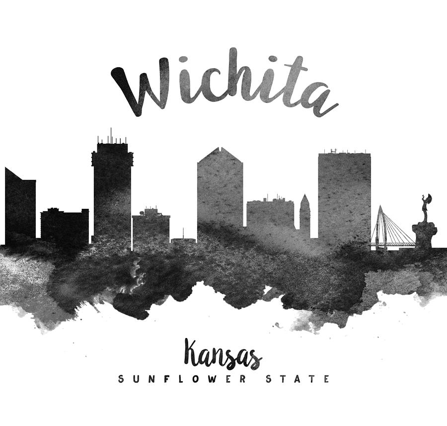 Line Drawing Ks : Wichita kansas skyline painting by aged pixel