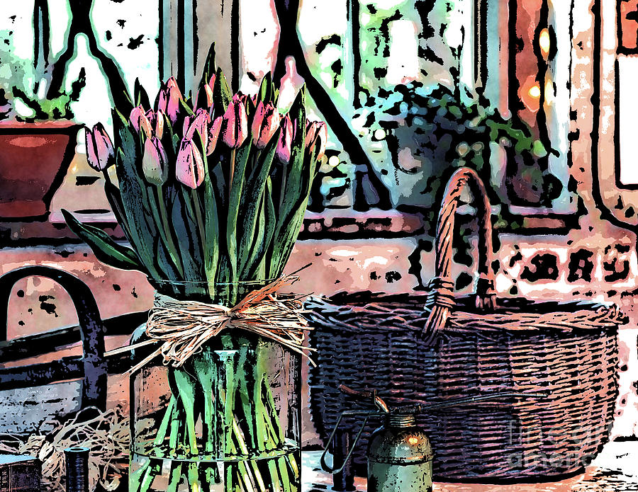 Wicker Basket Digital Art - Wicker Basket And Flowers by Phil Perkins