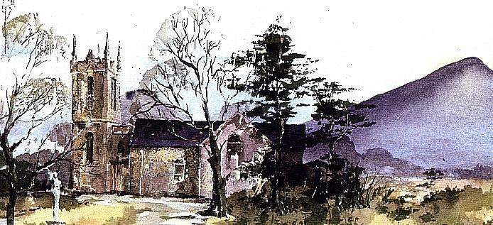 Wicklow.... Kilmcacanoge under the Sugarloaf. by Val Byrne