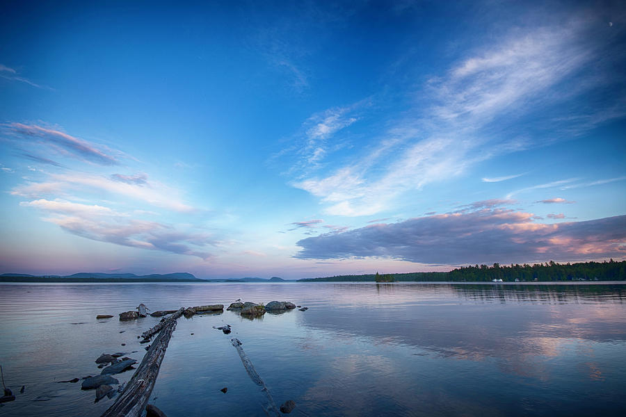 Lake Photograph - Wide Angled Sunset Over Moosehead Lake by Justin Mountain