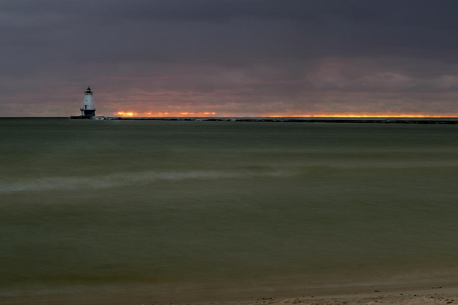 Wide View of Lighthouse and Sunset by Lester Plank