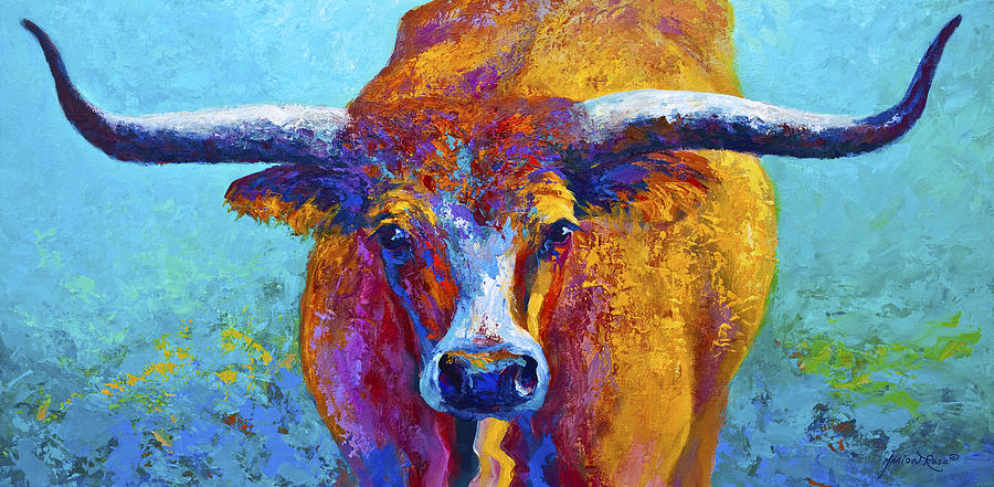Western Paintings Painting - Widespread - Texas Longhorn by Marion Rose