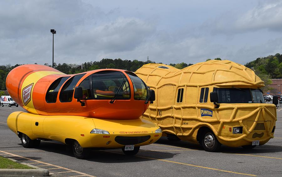wienermobile and peanut mobile 2 photograph by timothy smith