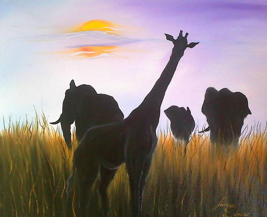 Wiildlife Of Africa Violet Sky Painting by Portland Art Creations