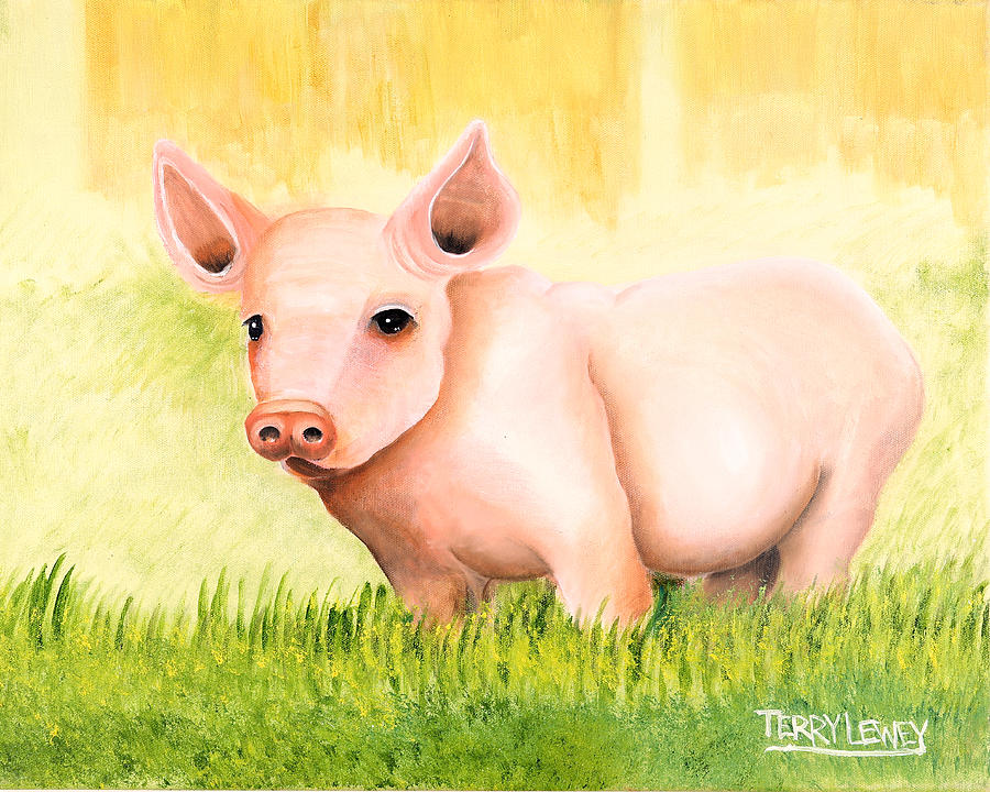 Pig Painting - Wilber by Terry Lewey