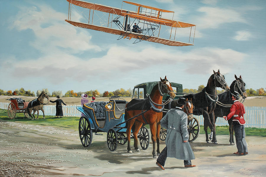 Wright Brothers Painting - Wilbur Wright In France by Kenneth Young