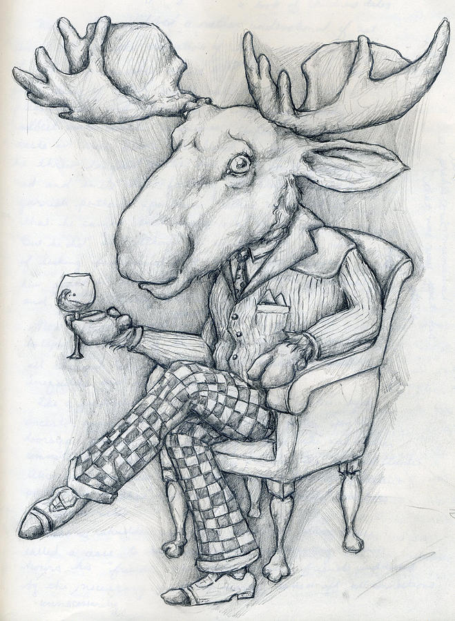 Wilcox Drawing - Wilcoxmoose by Alexander M Petersen