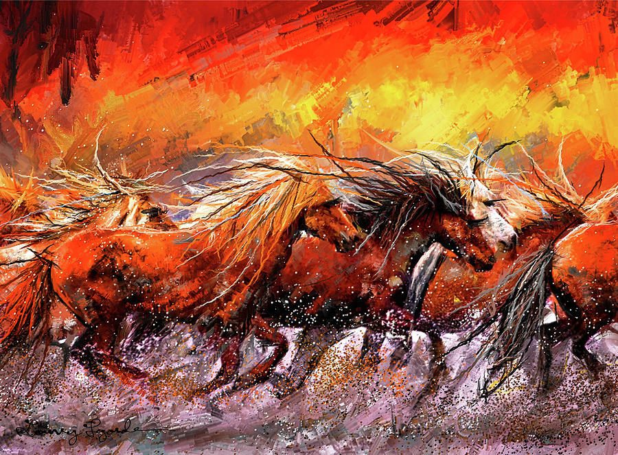 Wild And Free - Horses Running In The Wild Art by Lourry Legarde