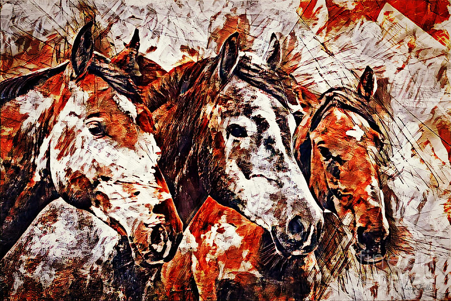 Horses Painting - Wild And Free by Lita Kelley