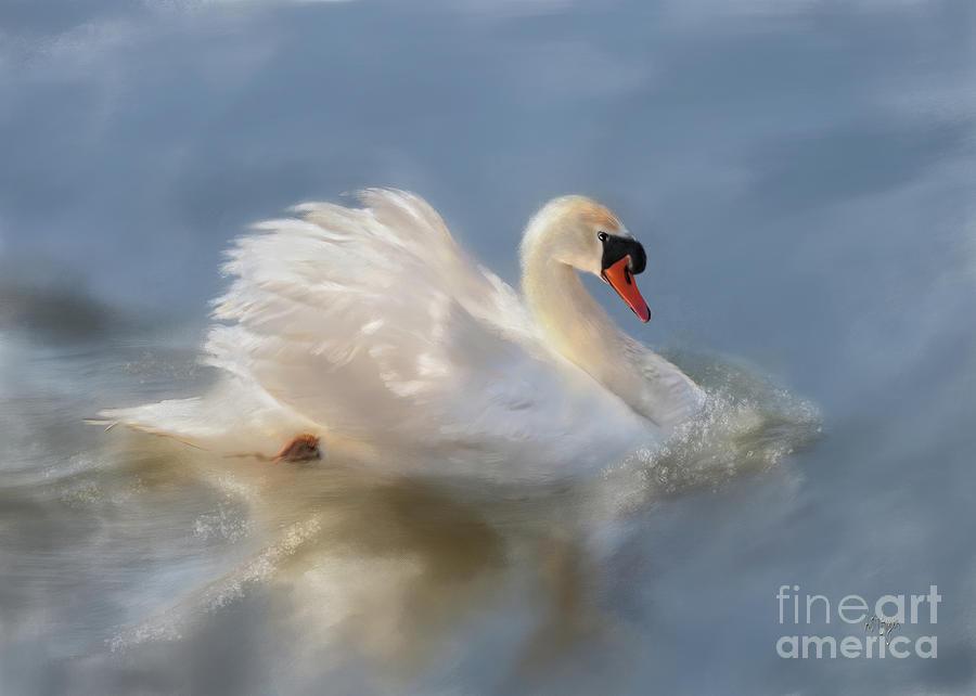 Swan Digital Art - Wild Beauty Painted by Lois Bryan