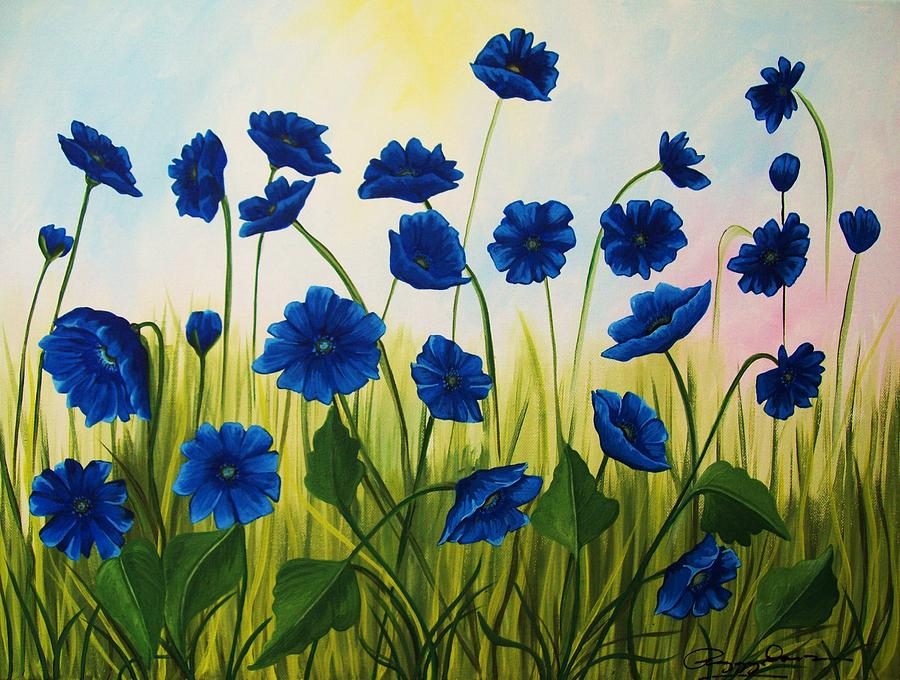 Abstract Painting - Wild Blue Poppies by Peggy Davis