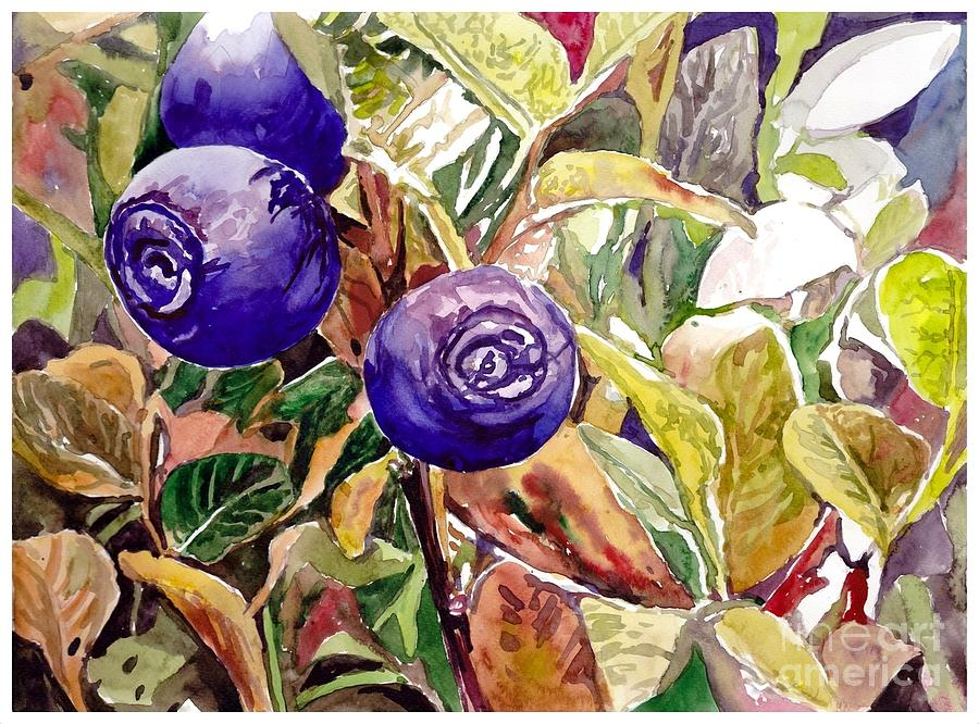 Wild Blueberries Painting - Wild Blueberries by Suzann Sines