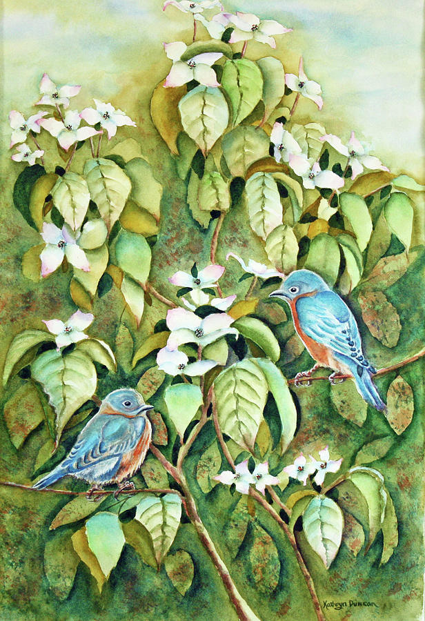 Wild Blues In White Dogwood II by Kathryn Duncan