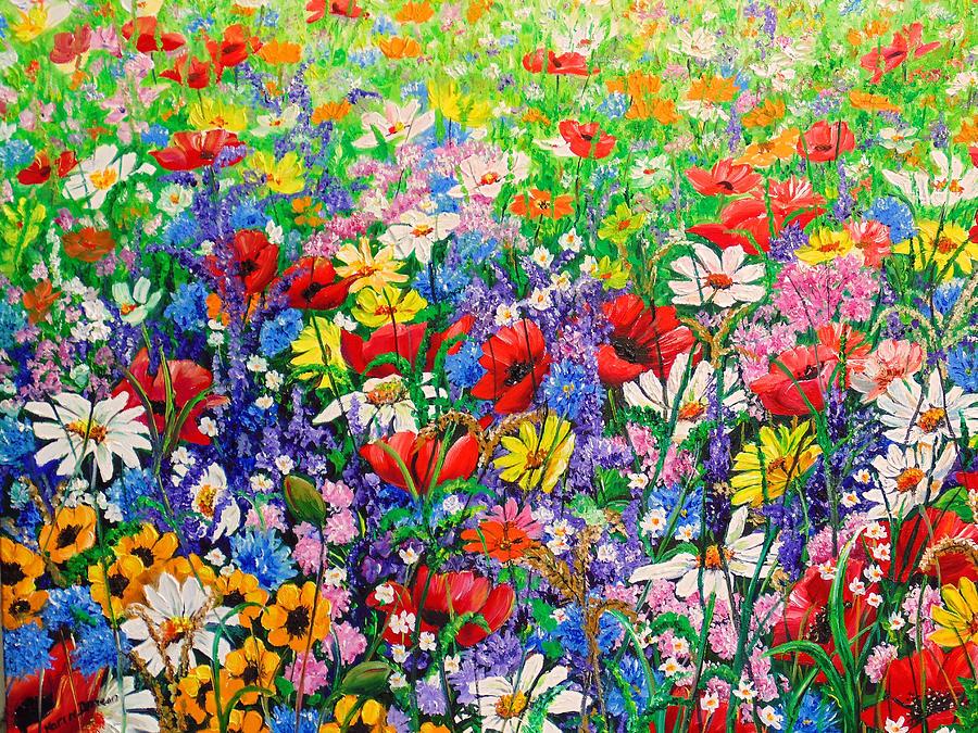 Wild Flowers Painting - Wild Flower Meadow by Karin  Dawn Kelshall- Best