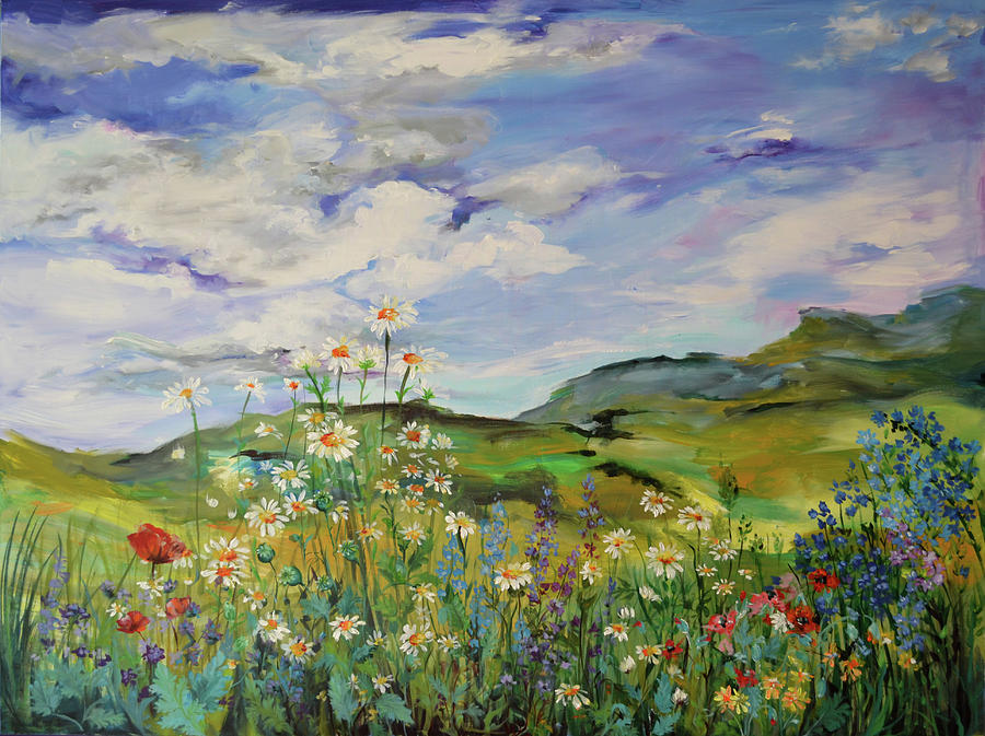 wild flowers landscape poppies and daisies large floral painting