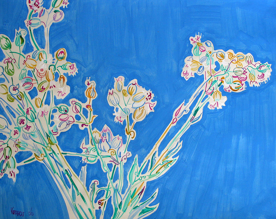 Wild Painting - Wild Flowers on Blue by Vitali Komarov