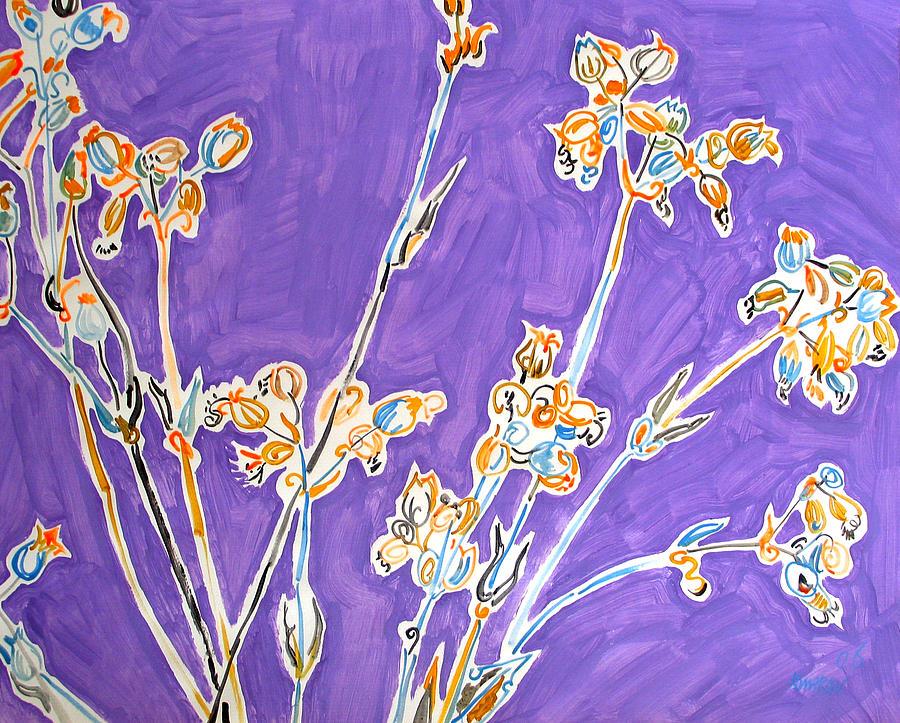 Wild Painting - Wild Flowers on Lilac by Vitali Komarov