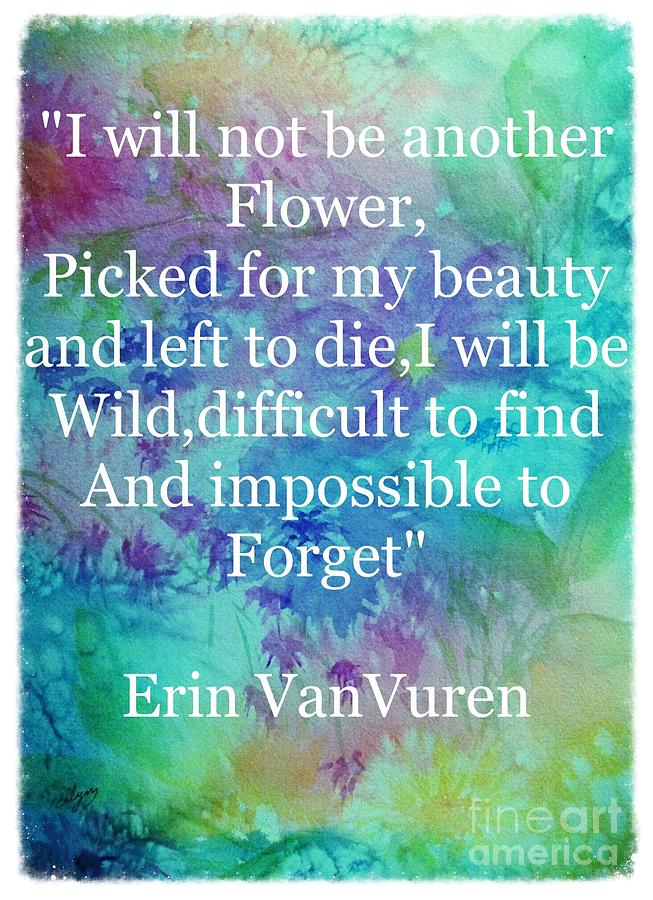 Wild Flowers With Quote Grunge Border Painting By Ellen Levinson