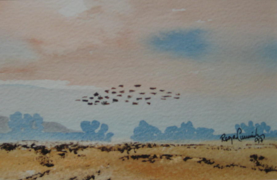 Small Painting - Wild Geese Heading Home. by Roger Cummiskey