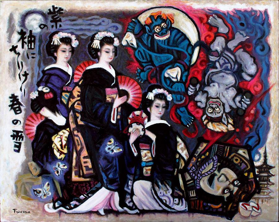 Japanese Painting - Wild God and Thunder God by Fujio Uno