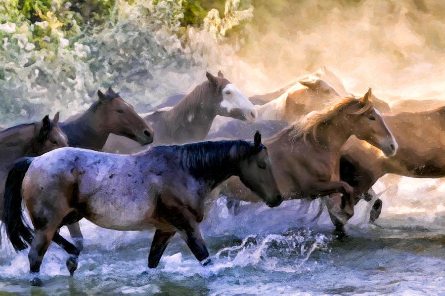 Big Horn Basin Painting - Wild Herd by Janet Fikar