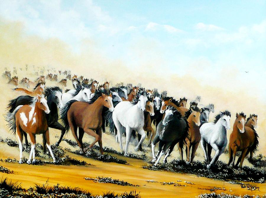 Wild Horses Painting by Bob Patterson