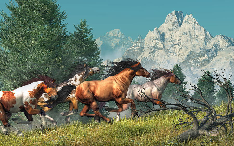 Wild Horses Digital Art - Wild Horses by Daniel Eskridge