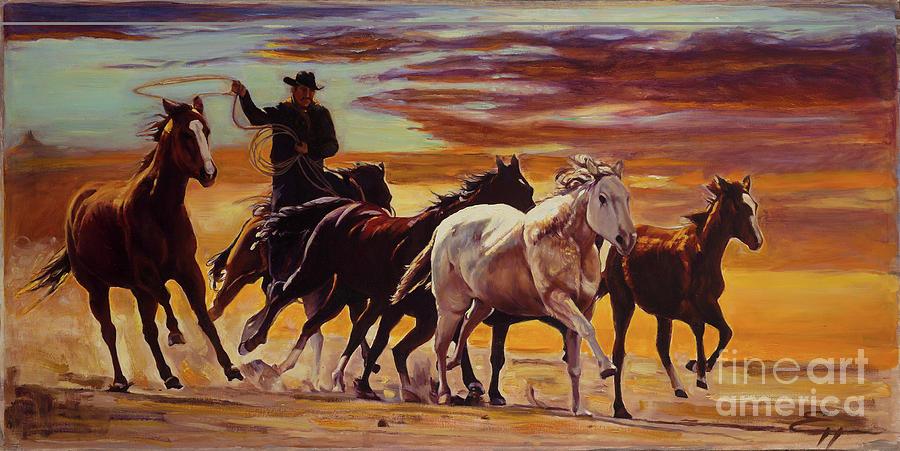 Wild West Painting - Wild Horses by Ekaterina Stoyanova