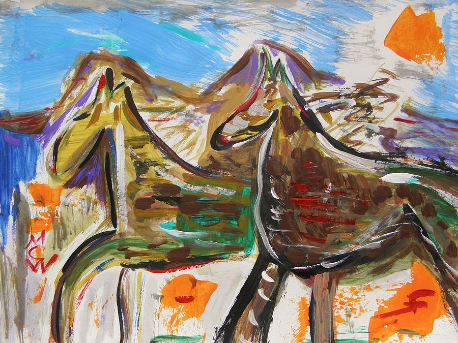 Horses Painting - Wild Horses From The Hills by Mary Carol Williams