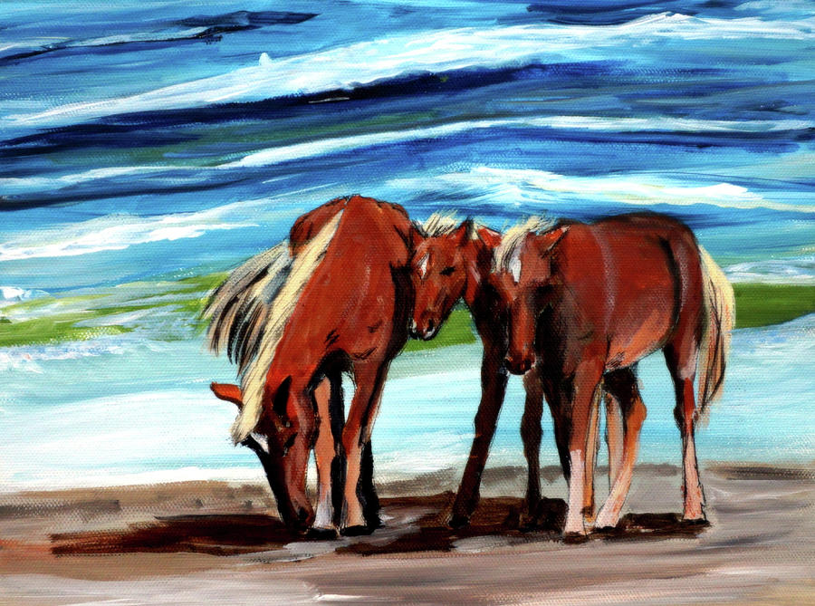 Wild Horses Outer Banks by Katy Hawk