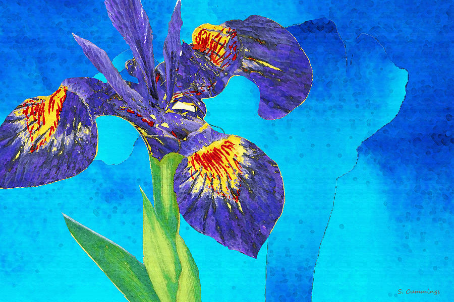 Iris Painting - Wild Iris Art by Sharon Cummings by Sharon Cummings