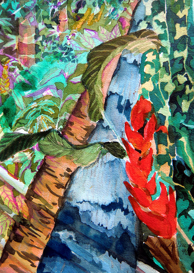 Waterfall Painting - Wild Jungle by Mindy Newman