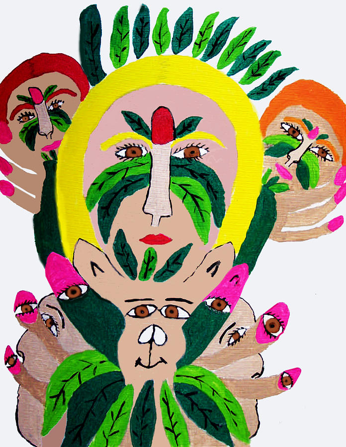 Wild Look Of The Green Plant Lady Painting by Betty  Roberts