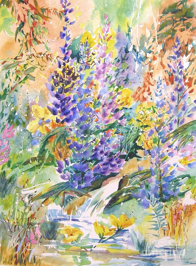 Abstract Paintings Painting - Wild Lupines by John Nussbaum