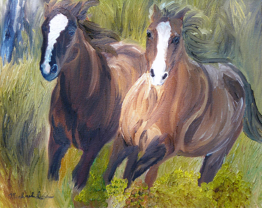 Horses Painting - Wild Mustangs by Michael Lee
