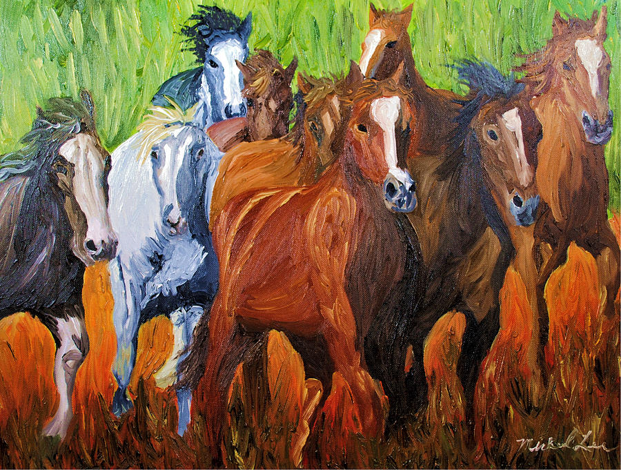 Wild Horse Painting - Wild N Free Forever by Michael Lee