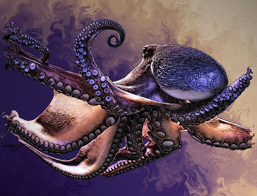 Abstract Digital Art - Wild Octopus by Artful Oasis
