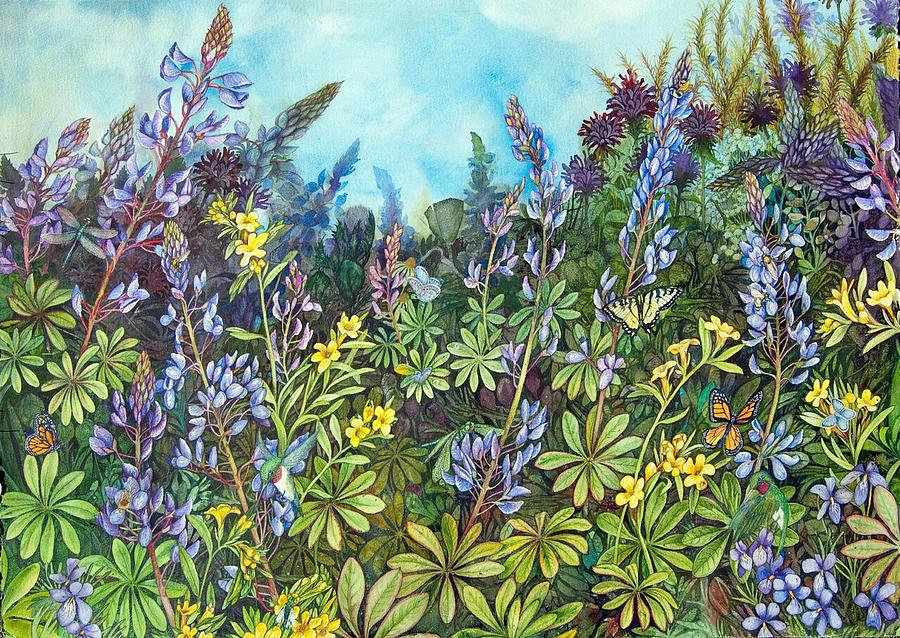 Lupine Painting - Wild Prairie Lupine by Helen Klebesadel
