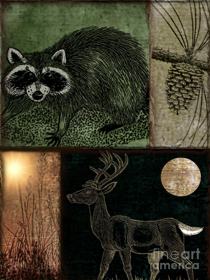 Wild Racoon And Deer Patchwork Painting