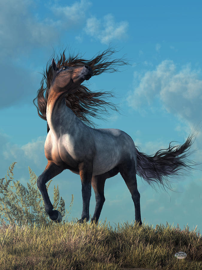Horse Digital Art - Wild Roan by Daniel Eskridge