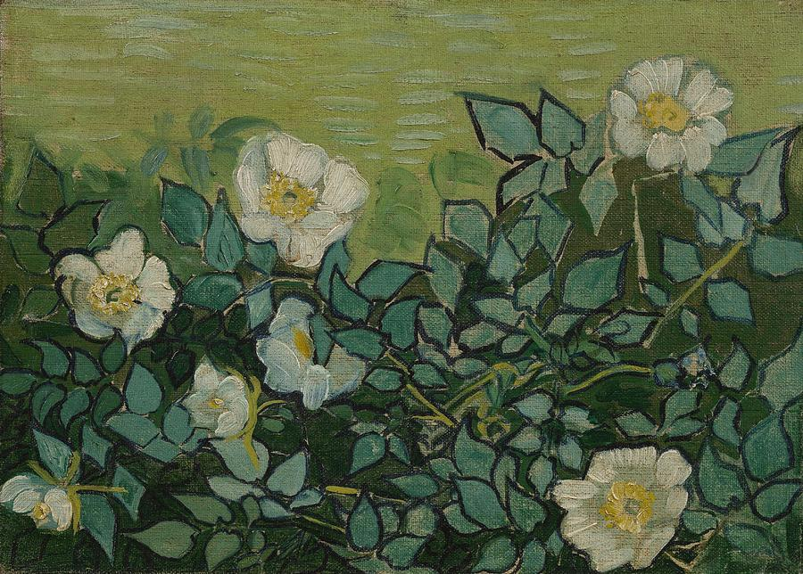 Flower Painting - Wild Roses Saint-remy-de-provence, May-june 1889 Vincent Van Gogh 1853 - 1890 by Artistic Panda