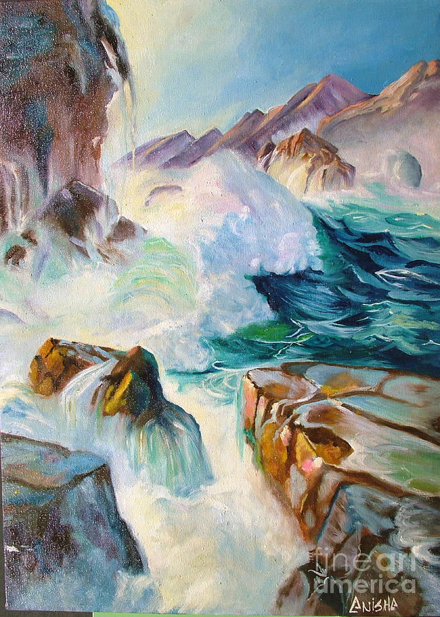 Sea Painting - Wild Sea by Anisha Shah