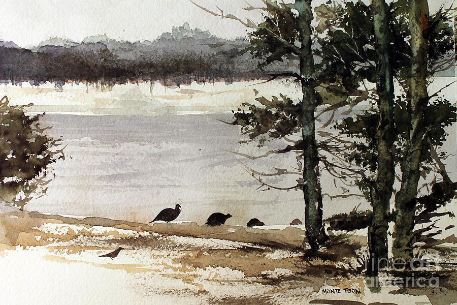 Wild Turkeys Painting by Monte Toon