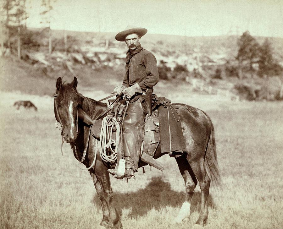1800s Photograph - Wild West. The Cow Boy. Sturgis, Dakota by Everett
