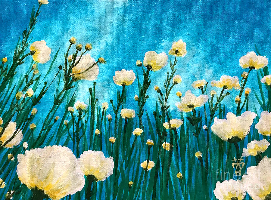 Matilija Poppy Painting - Poppies In The Blue Sky by Wonju Hulse