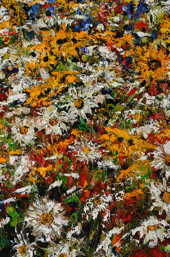 Oil Painting - Wildchild Flowers Close-up by Robert James Hacunda